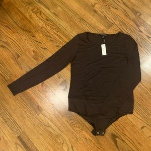 Large Dark Brown Bodysuit by J Crew